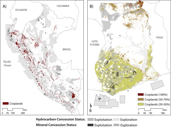 Maps of overlap between extractive concessions and agricultural land use in (A) Perú and (B) Ghana.
