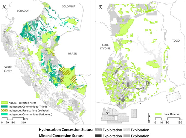 Maps of overlap between extractive concessions and protected land use types in (A) Perú and (B) Ghana.
