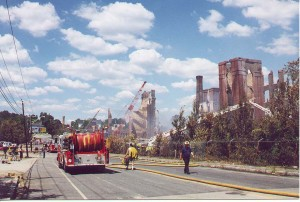 Fisherville Mill burns in 1999.