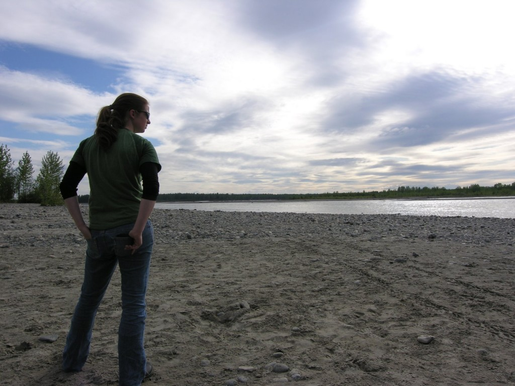"Lauren contemplates the ""beach"" in Talkeetna."