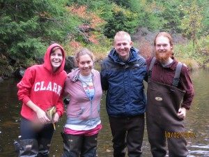 From left to right: Audrey Seiz, Hannah Reich, Professor Geist, and Nick Pagan. At the East Branch Swift River in Petersham, MA.