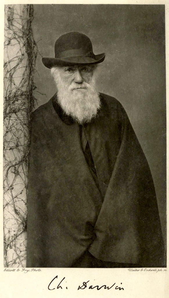 Black and white photo of Charles Darwin leaning against a column, wearing a hat.