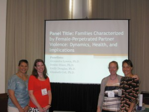 from left: Elizabeth Celi, Denise Hines, Emily Douglas, and Alexandra Lysova presented research on male victims of partner violence, female perpetrators, and child witnesses at the APA's Annual Convention in Honolulu, HI, August 2013.