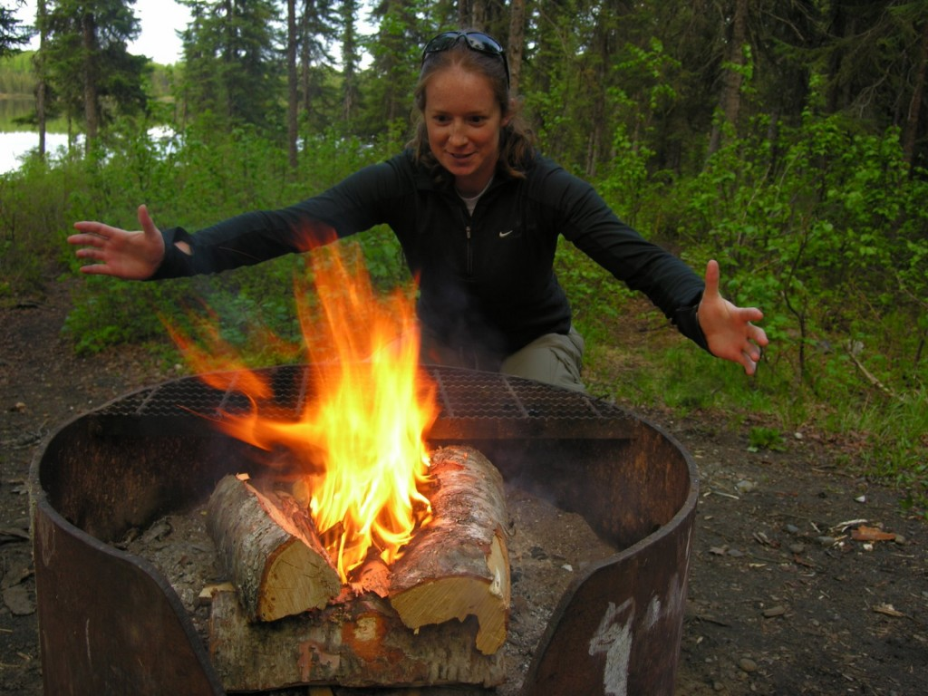 Lauren creates fire at South Rolly.