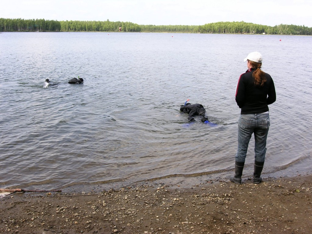 Lauren observes Kat and Jeff snorkeling in their dry suits. Willow Lake.