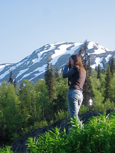 The drive from Anchorage to the Kenai is quite beautiful and we took every opportunity to stop and take pictures. Here, Rachel takes in the view through her camera lens.