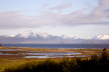 Here's one of my favorite pictures I took on the trip, a view of Beluga Slough with the ocean and mountains in the background.