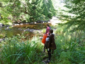 Professor John Baker and Audrey Seiz at the East Branch Swift River in Petersham, MA.