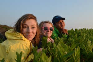 Sweet Emma, Jenna, and Eric enjoy the sunset from the patch