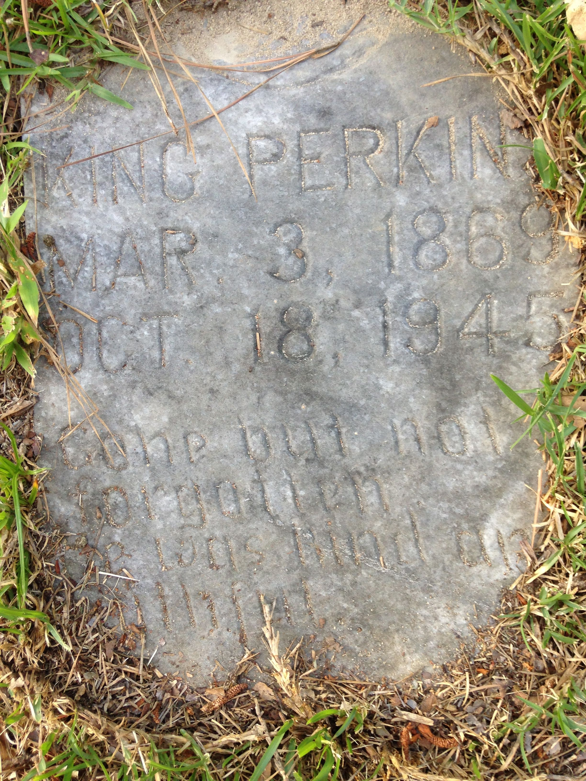 The grave of King Perkins, Jr., son of King, brother of Edward.