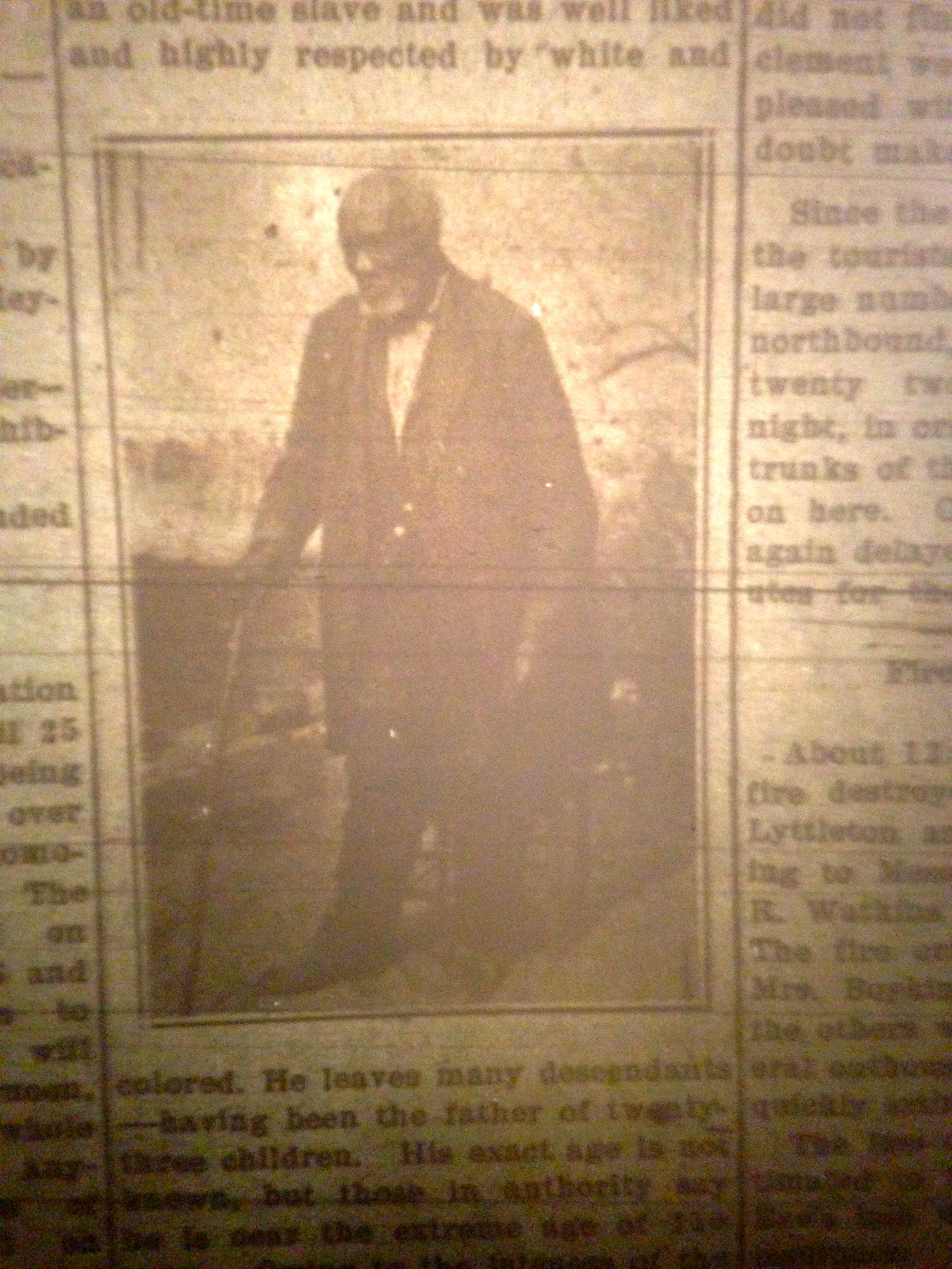 Patriarch of the Worcester Perkins family, King was born in 1802 and died in 1912 at age 110. This photo is from the Camden (SC) Chronicle at the time of his death.