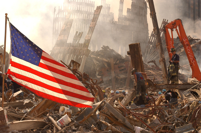 September 16, 2001: A lone flag at Ground Zero.